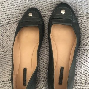 Authentic Longchamp Dark Green Leather Flats